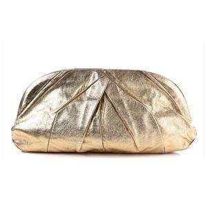 MIU MIU Gold Oversized Soft Calf Pleated Leather Clutch